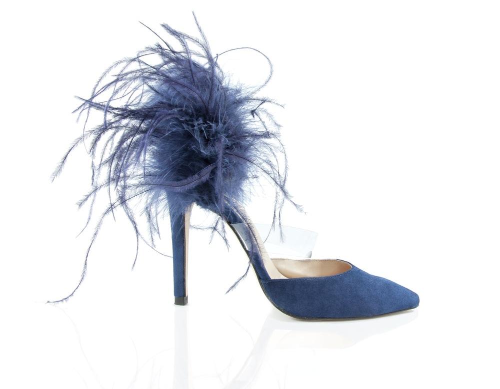 zapato plumas azul