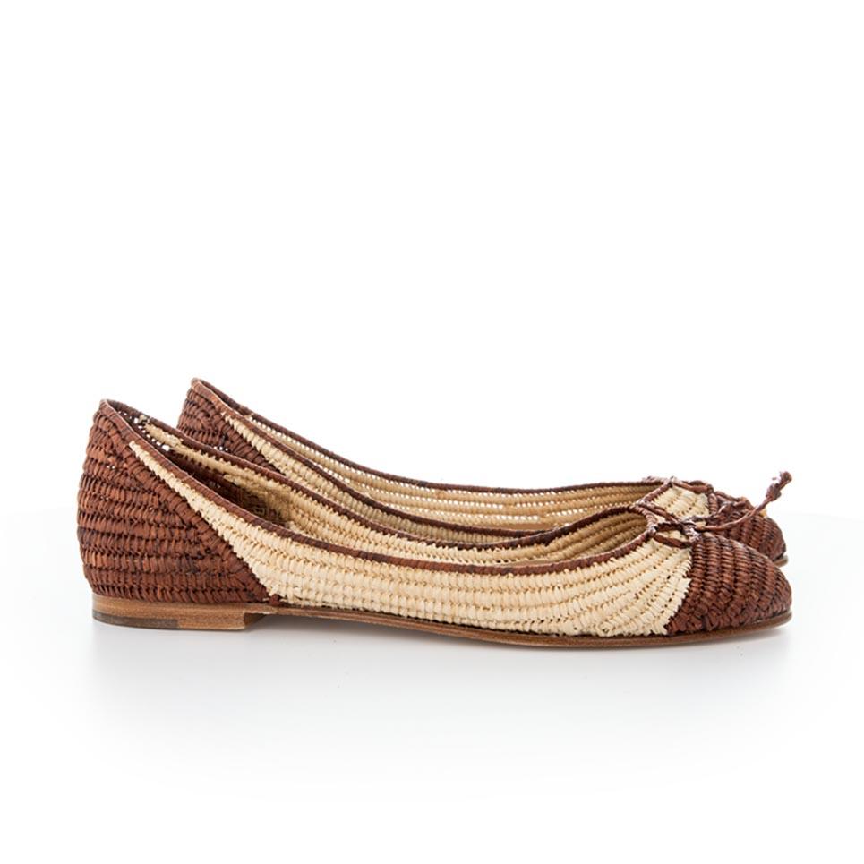 manoletina rafia brown shoe