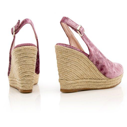 Women Shoes Wedges Strauss Velvet Pink